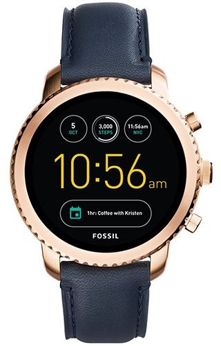 Fossil Q Men's Gen 3 Explorist Stainless Steel and Leather Smartwatch, Color: Rose Gold-Tone, Blue (Model: FTW4002)