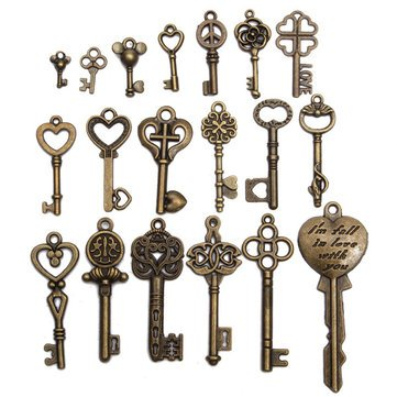 Manual Tools Other Tools - 19Pcs Antique Vintage Old Look Skeleton Key Lot Pendant Heart Bow Lock Steampunk -1 x Set of 19pcs Vintage Keys