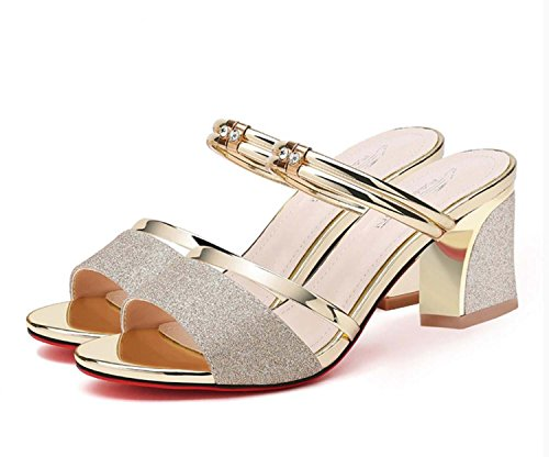 Heel Heel Shoes Gold Shoes Buckle Shoes Low Belt Middle Cool Lady Heel Wedge High Heeled Heel Hollow Mesh Sandals Water Towed Bandage Drill Rough Diamonds Platform d4xnCOzP