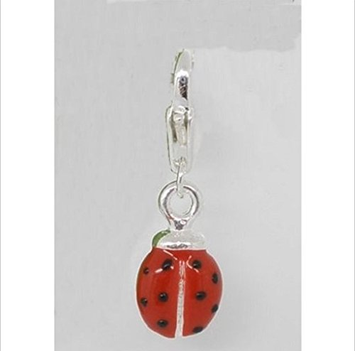 (1 Pcs Silver Plated Red Enamel 3D Ladybug Clip-On Charm)