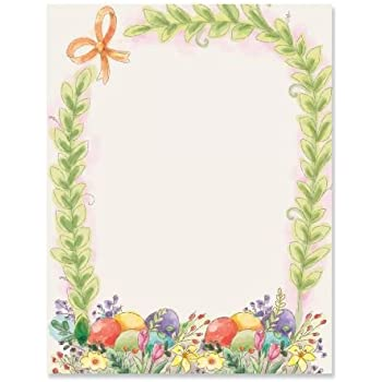 photograph regarding Easter Bunny Letterhead titled Basket Border Easter Letter Papers - Established of 25 Spring Stationery Papers are 8 1/2\