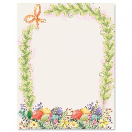 Basket Border - Basket Border Easter Letter Papers - Set of 25 Spring Stationery Papers are 8 1/2