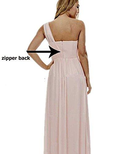 Schulter Eine Elegant Beyonddress Schwarz kleider Damen Chiffon Lang Abendkleider Hochzeit Brautjungfern Partykleider aBqY6w07Y