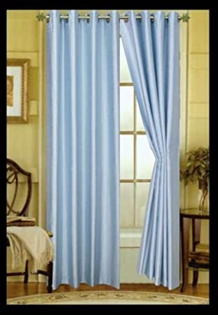 Amazon.com: TWO LIGHT BABY BLUE faux silk grommet window PANEL ...