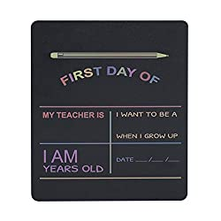 "Custom Product Solutions Reusable My First Day of School Milestone Chalkboard Sign. Photo Prop Board for Kids, Black w/color print - 12"" x 10"" rectangle"