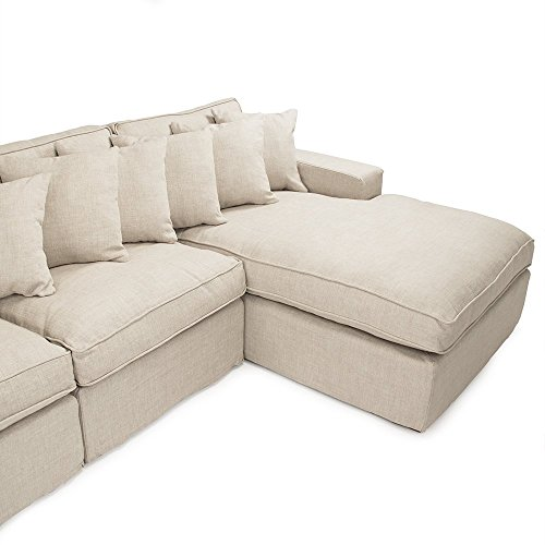 French country modern alix natural light linen sectional sofa best sofas online usa - French country sectional sofas ...