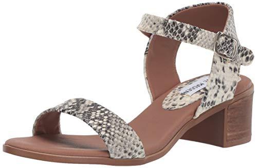 (Steve Madden Women's April Heeled Sandal, Natural Snake 7 M US)