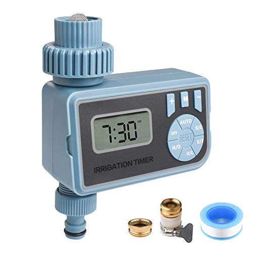 KORAM Water Timer Digital Automatic Hose Timer Single Outlet Hose Faucet Watering Timer Waterproof Water Control Timer with Rain Delay/Manual for Ourdoor Garden Irrigation
