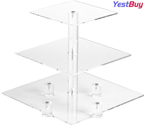 YestBuy 3 Tier Maypole Square Wedding Party Tree Tower Acrylic Cupcake Display Stand (3 Tier (10cm gap) with Base) ¡­ (3 Tier Food Stand)