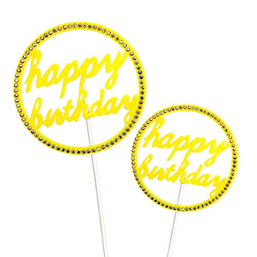 - LUCKIN CHAU Happy Birthday Cake Topper Rhinestone Cupcake Topper Party Supplies Decorations (Circular,Yellow,Big&Small,2 Pack)