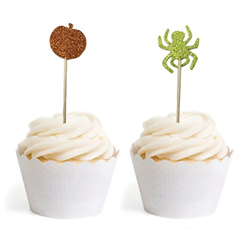 PARTYMASTER Halloween Decorations Lot of 48 Food Toothpicks Cupcake Muffin Toppers,Mixed Packaging -