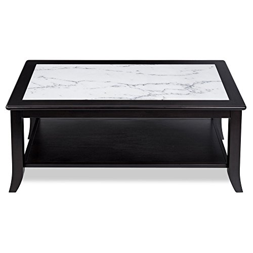 PrimaSleep Modern Natural Marble Top Solid Wood Coffee Table/ Side Table/ End Table/ Sofa Table/ Dining Table/ Vanity Table/ Computer Table/ Office Table/ Living Room Table, (White/Black)