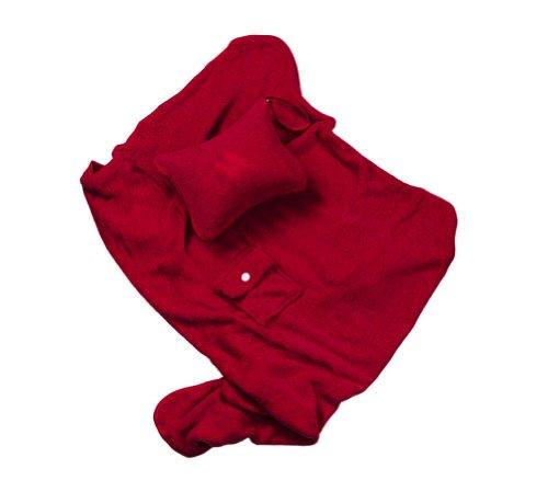 Travel Comfort Set with Nap Pillow & Fleece Blanket - Burgundy