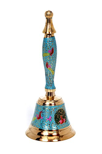 Hashcart Colorful Hindu Hand Held Bell - Musical Jingle Brass Puja Pooja Prayer Ghanti - Indian Hindu Festivals & Christmas