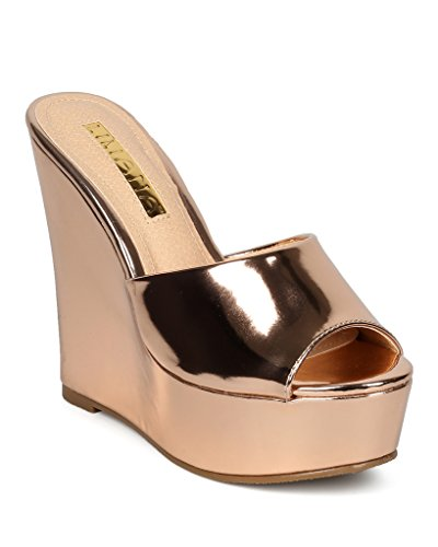 Gold Braid Heels Shoes (Liliana Women Shiny Metallic Peep Toe Platform Wedge Slide Sandal Anneka-29(Rose Gold 10))