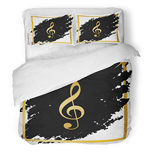 Semtomn Decor Duvet Cover Set Full/Queen Size Music Violin Clef Sign G Treble Golden at Black 3 Piece Brushed Microfiber Fabric Print Bedding Set Cover]()