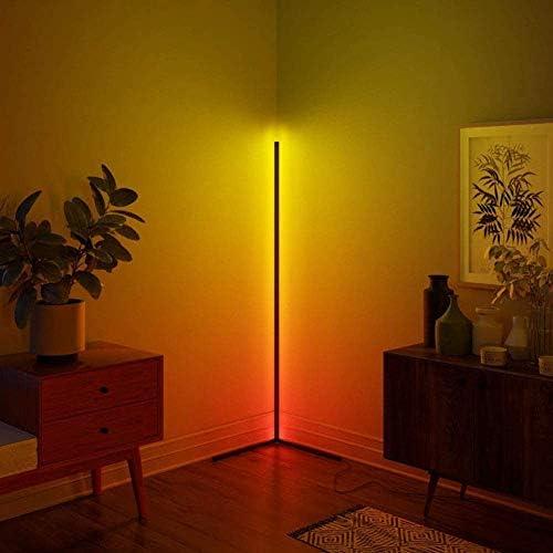 JINGBO LDTXH Corner Floor Light Nordic Modern Night Standing LED Floor Lamp Design Bedroom LED Living Lighting Dimmable Bedroom Decor Floor Light,Black