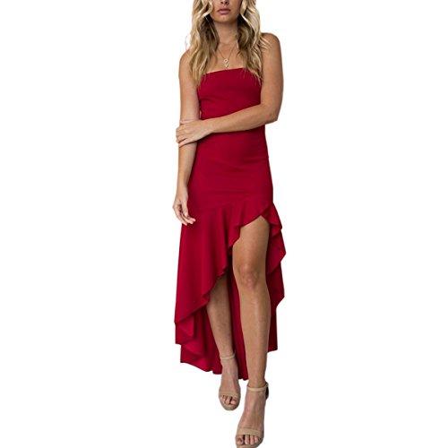 Correa de Espagueti con bajo Dobladillo y Volantes Bajos Vestido de Noche Largo con Hombros Descubiertos y Ajustados para Mujeres (Color : Red, Tamaño : M)