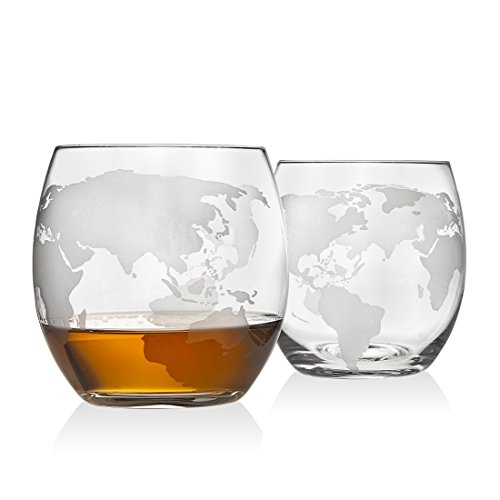 Atlas Man Whiskey Decanter Globe Set - With 2 Etched Globe Whiskey Glasses - For Whiskey, Scotch, Bourbon, Cognac and Brandy - 1000ml by NatureWorks (Image #2)