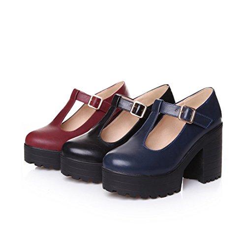 b42297bd48ec0 new Milesline Fashion Women s Round Toe Platform Shoes T-strap Chunky Heel  Mary Jane Pumps