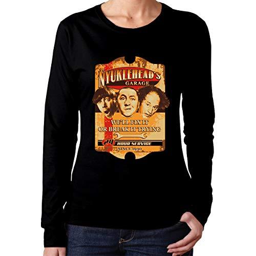 Mora-Tshirt Classic Women Black Cotton Three Stooges Knucklehead Garage Wise Generic Long Sleeve T-Shirts -