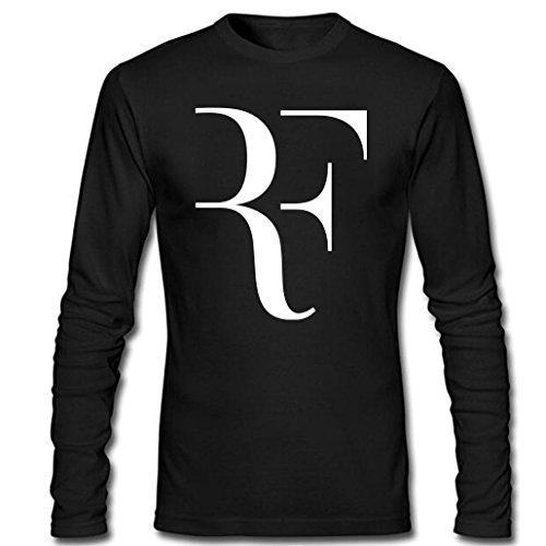 CIN-FAN Men's Tennis Player RF Shirt Long Sleeve (Black Medium)