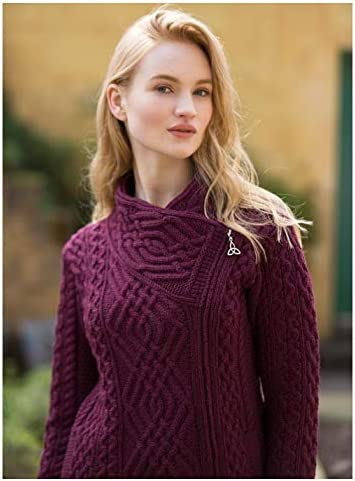 West End Side Zip Cable Knit Wool Jacket (Wine, Large)