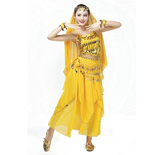 [OMYFAIRY Belly Dance Costume, Halter Bra Top, Hip Scarf and Skirt 3pcs set (yellow)] (Dance Costumes For Adults)