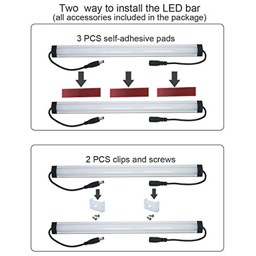 Under Cabinet LED Lighting Kit Plug in,6 pcs 12 Inches Cabinet Light Strips, 31W, 2000 Lumen, Super Bright, for Kitchen Cabinets Counter, Closet, Shelf Lights,Warm White 3000K-[6-Bars Kit-3000K] by Litever (Image #5)'