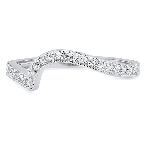 Clara Pucci Round Cut Curved Chevron V Shape Pave Bridal Anniversary Engagement Wedding Band 14K White Gold, 0.06CT, Size 4.5