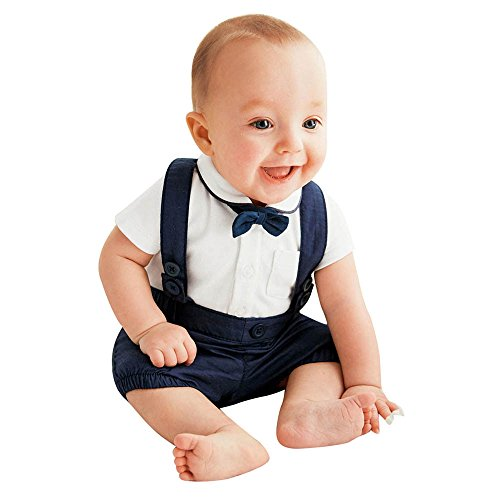 Baby Johnny Cash Costume (Kanzd Fashion Baby Boy Outfits Bow Tie+T-shirt+Pants Kids Clothes Set (100, Navy))