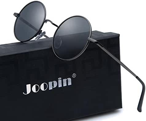 Joopin-Round Retro Polaroid Sunglasses Driving Polarized Glasses Men Steampunk