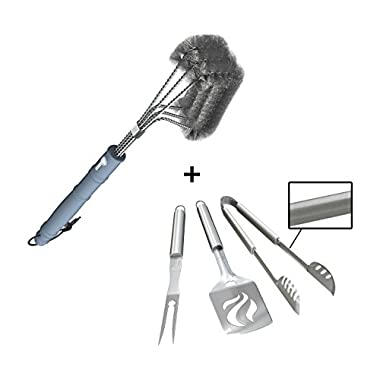 Barbecue Grill Brush + BBQ Tools Set - HEAVY DUTY 20% THICKER STAINLESS STEEL - Professional Grade Accessories - 3 Piece Utensils Kit Includes Spatula Tongs & Fork - Unique Birthday Gift Idea For Dad