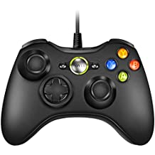 VOYEE Wired Xbox 360 Controller Compatible with Microsoft Xbox 360 & Slim/Windows/PC (Black)