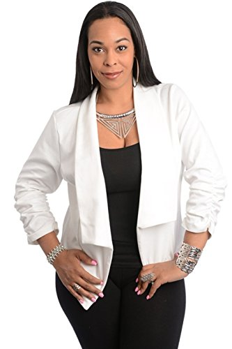 2LUV-Plus-Womens-Open-Front-Gathered-Sleeve-Plus-Size-Blazer