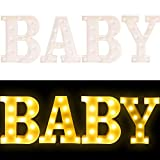 "Creation Core 8.7"" Tall Large LED BABY Word Marquee Signs Battery Operated Warm White Light Up Letters for Home Bedroom Nursery Room Table Wall Decor, BABY"