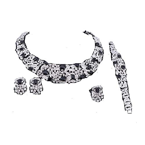 Women Bridal Fine Rhinestone Crystal Jewelry Sets for Wedding Party Dinner Dress Necklace Earring Bangle Ring Kit Gifts (Black)