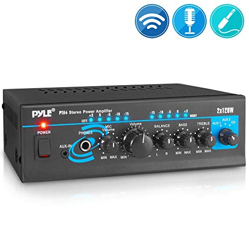 Home Audio Power Amplifier System - 2X120W Mini Dual Channel Mixer Sound Stereo Receiver Box w/ RCA