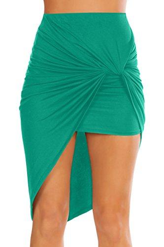 Womens Drape Up Stretchy Asymmetrical High Low Short Mini Bodycon Pencil Skirt (Size XX-Large, Jade) ()