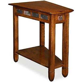 Leick 10056 Rustic Oak Slate Tile Recliner Wedge End Table
