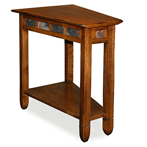 (Leick 10056 Rustic Oak Slate Tile Recliner Wedge End Table)