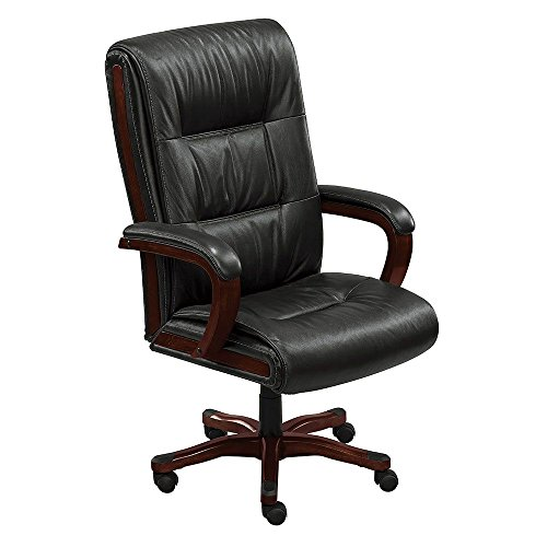Stamford High-Back Big and Tall Leather Executive Chair Black Leather/Brunette Finish Dimensions: 27.75