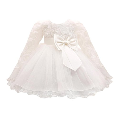 Girl Long Sleeved Tutu Princess Bridesmaid Pageant Gown Birthday Party Wedding Dress ()