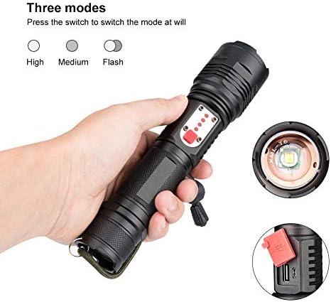Tactical Flashlight,SLN Super Bright Pocket Torch Handheld Searchlight,3 Modes and Adjustable Lanyard(Black)