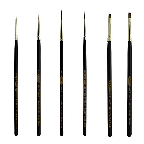 Sable Angle - ZEM BRUSH Green Synthetic Sable Detail Brush Set Sizes Long Liners 20/0,10/0,5/0 Mini Liner 5/0, Angle 1/8
