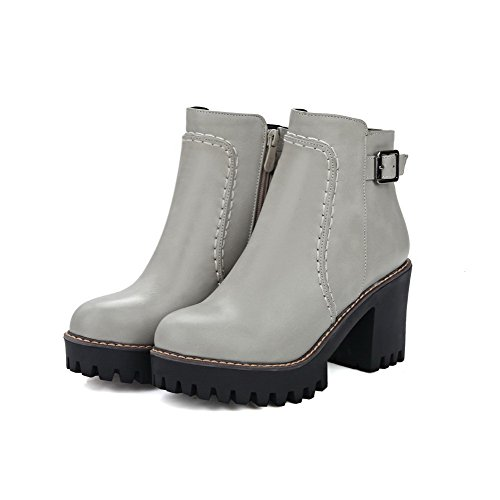 High Toe Heels Soft AgooLar Boots Low Closed Women's top Solid Material Gray Round CXwBtIq
