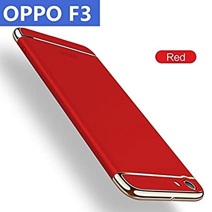 best authentic ade06 678ec AEETZ® Oppo F3 Back Cover, F3 Case, Ultra-Thin 3in1 Eventual Series New  Luxury 360 Degree Protection Back Cover case for Oppo F3 - Red with Gold