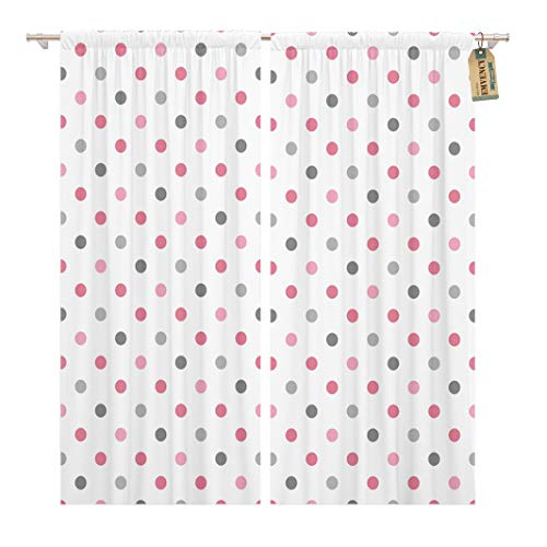 Golee Window Curtain Pink Abstract Polka Dot Pattern Baby Candy Cartoon Circle Home Decor Rod Pocket Drapes 2 Panels Curtain 104 x 96 inches