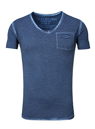 Key Largo Herren vintage used destroyed Look uni T-Shirt Soda new v-neck tiefer V-Ausschnitt slim fit tailliert einfarbig T00619 dunkelblau XXL