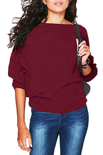 Red Boatneck Sweater - FOUNDO Women Batwing Sleeve Knitted Pullover Loose Sweater Jumper Tops Knitwear Wine L